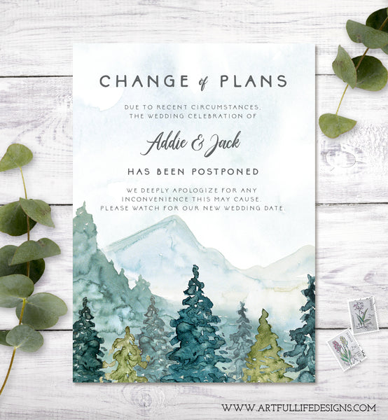 Change of Plans, Postponed Wedding Announcement, Rescheduled Wedding Card, Editable Template, Instant Download Watercolor Mountains Trees