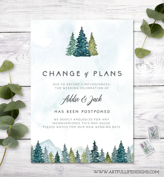 Change of Plans, Postponed Wedding Announcement, Rescheduled Wedding Postcard, Editable Template, Instant Download, Mountains Trees