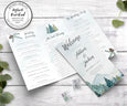 Rustic mountains pines trifold wedding program 8.5 x 11