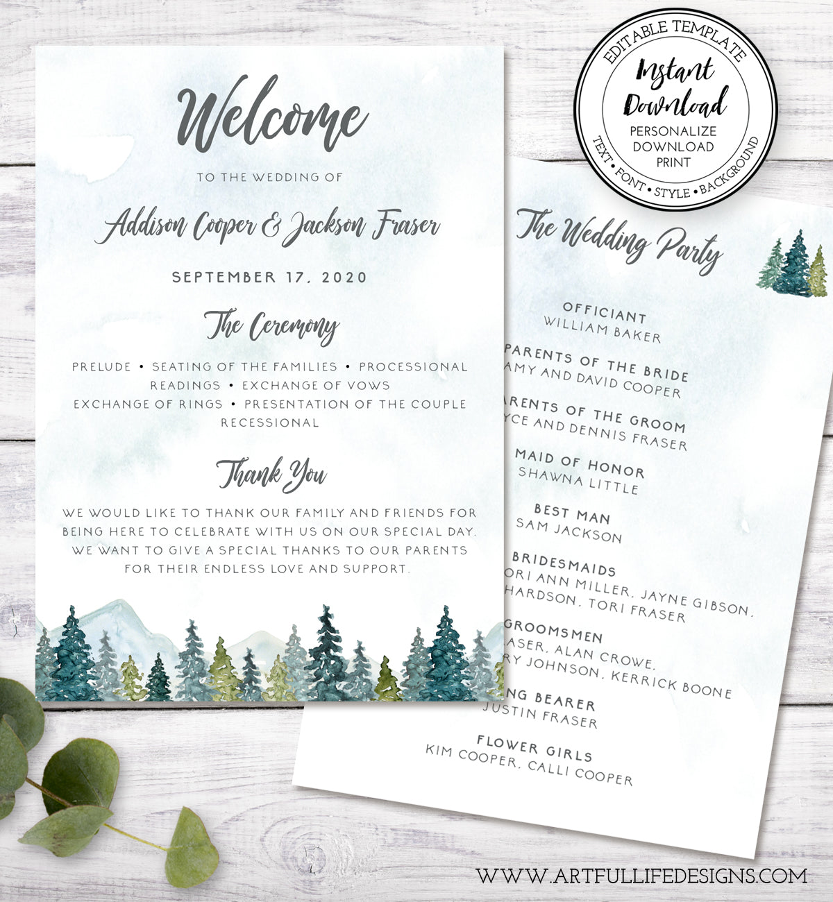 5 x 7 double sided wedding program, mountains & pine trees