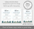 "Paper saving option for 5 x 7"" wedding program template, rustic mountains and pine trees, fir trees"