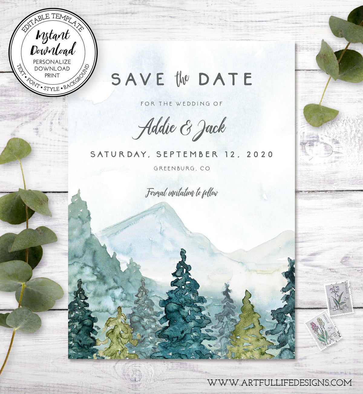 mountains pines save the date card