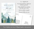 "5 x 7"" mountains pines save the date card template"