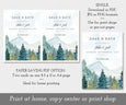 Paper saving option for rustic mountains pines wedding date, save the date card template