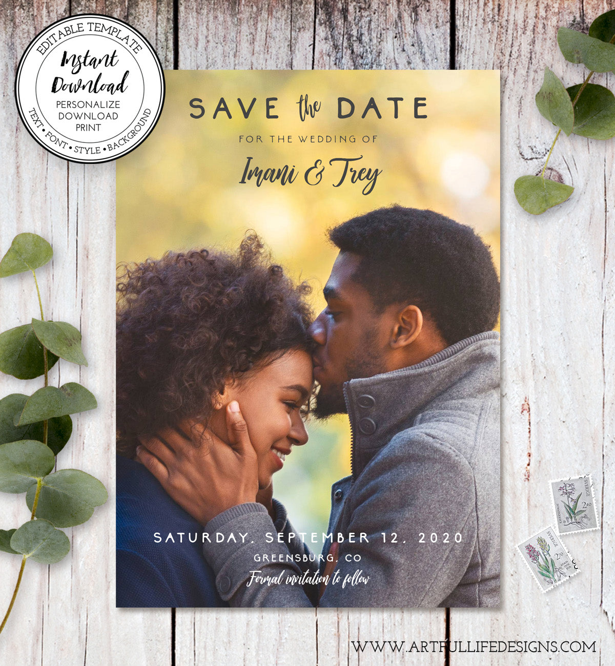 Rustic photo save the date card