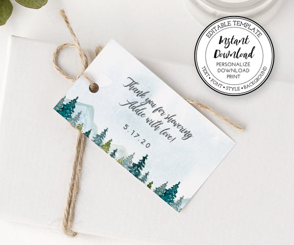 Rustic mountain and pines Bridal Shower favor tag