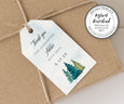Vertical bridal shower favor tag, rustic pines bridal or couples shower favor tag