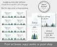 Paper saver option for shower favor tags, rustic mountain pines