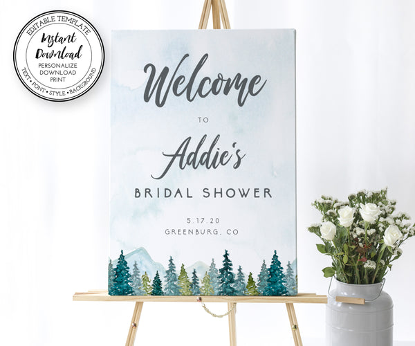 Mountains Pines bridal shower welcome sign