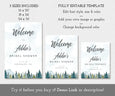 Mountains Pines Bridal shower welcome sign in three sizes, editable templates