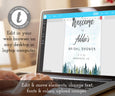 Edit your mountains pines bridal shower welcome sign template online at templett
