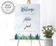 mountains pines wedding welcome sign for rustic or adventure wedding