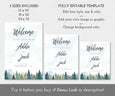Mountains Pines wedding welcome signs in three sizes, editable templates