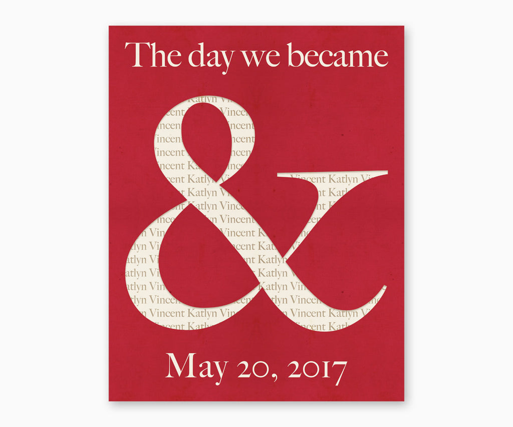 "Ampersand ""The Day That We Became"" Wedding or Anniversary Wall Art, Red"