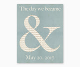 "Ampersand ""The Day That We Became"" Wedding or Anniversary Wall Art, Blue"