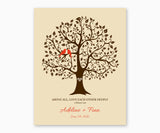 Above All, Love Each Othe Deeply, 1 Peter 4:8, Love Birds in Tree, Wedding or Anniversary Wall Art, Red birds