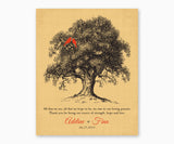 Personalized Thank You Wedding Gift for Parents from Bride and Groom, Wall Art, black tree