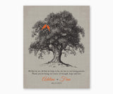 Personalized Thank You Wedding Gift for Parents from Bride and Groom, Wall Art, gray tree