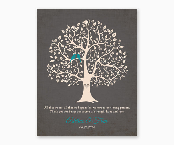 Thank You, Love Birds Wedding Tree Wall Art for Parents from Bride and Groom, Charcoal