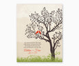 Wedding Gift for Groom's Parents from Bride, Love Birds Tree Wall Art, red birds
