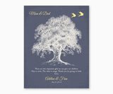 Roots and Wings Thank You Gift for Parents Wall Art, Dark Blule