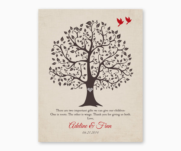 Roots and Wings Parents Wedding Gift Wall Art, Cream