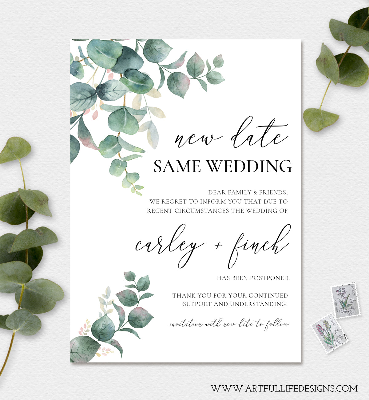 New Wedding Date, Postponed Wedding Announcement, Change of Plans Card, Digital Announcement, Instant Download, Self Edit in Templett