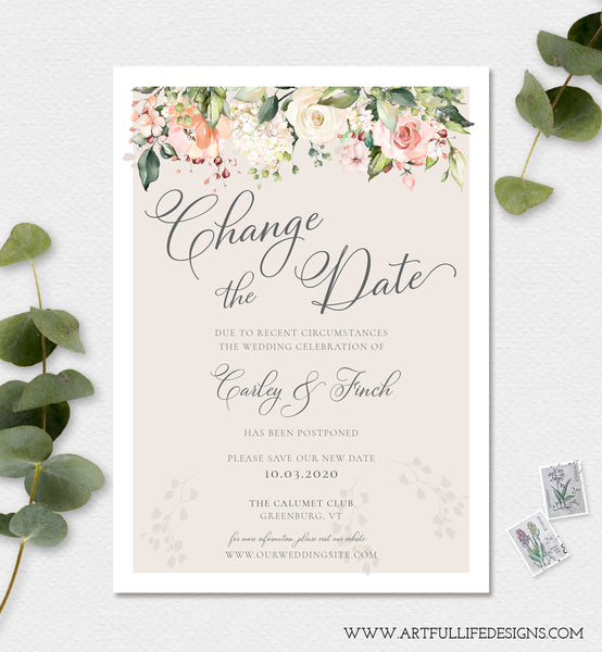 Floral Change the Date, Postponed Wedding Announcement, New Wedding Date, Save Our New Date, Digital Instant Download Editable Template