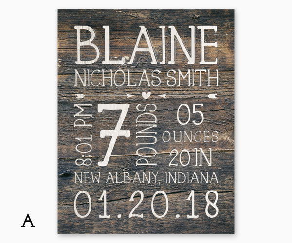 Faux Wood Rustic Birth Stats Nursery Art