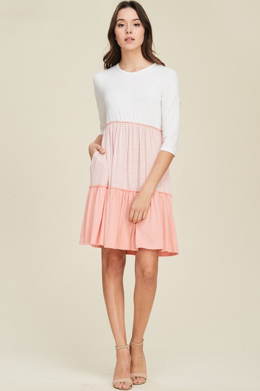 Color Block Stripe Knit Dress in Blush – The Classy Cove 1ee661573