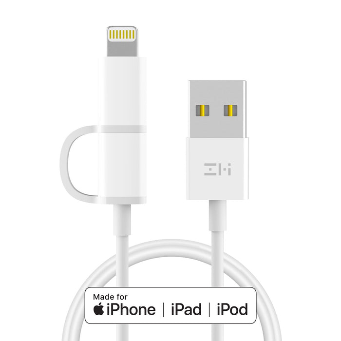 MFi Certified 2-in-1 Lightning & Micro-USB Combo Cable for iPhone, iPad and Android 3.3ft