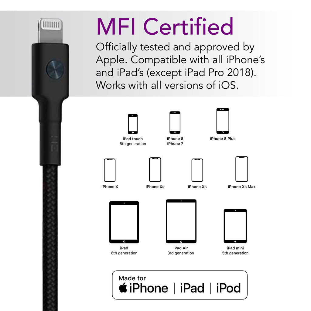 Braided Black USB-C to Lightning Cable - MFi Certified