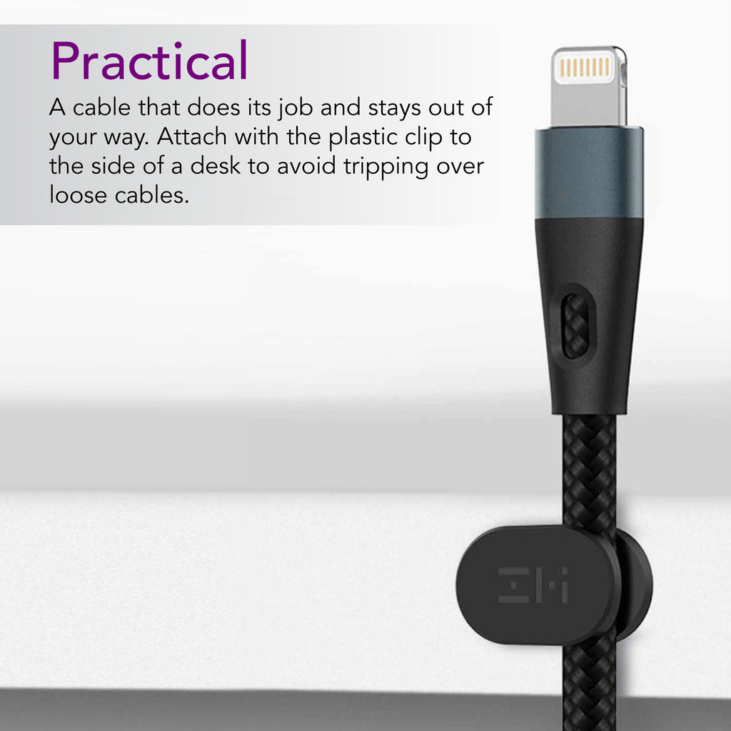 ZMI Hi-Tension MFi Certified Lightning to USB Cable, Braided Black