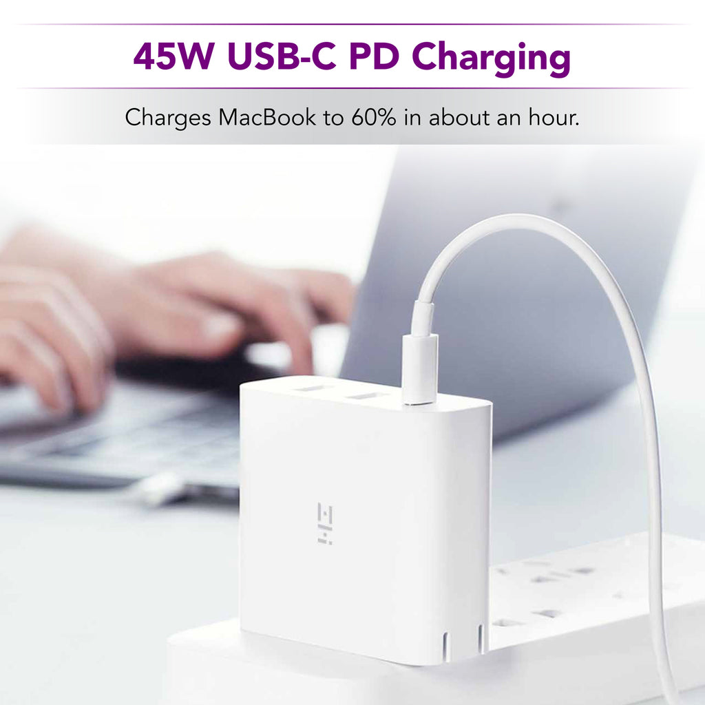 ZMI zPower 3-Port Travel Charger: 45W USB-C PD and 18W-Split Dual USB-A Wall Charger