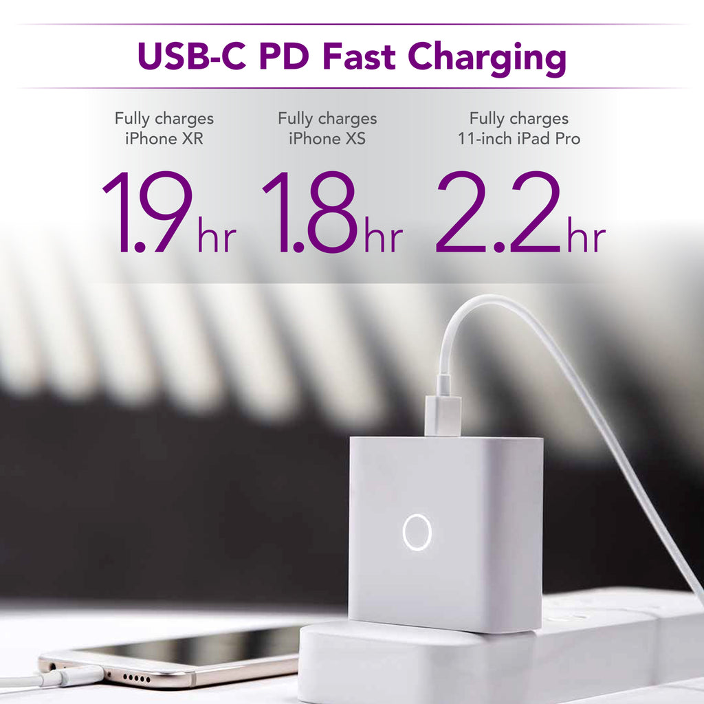 zPower 3-Port Travel Charger: 45W USB-C PD and 18W-Split Dual USB-A Wall Charger