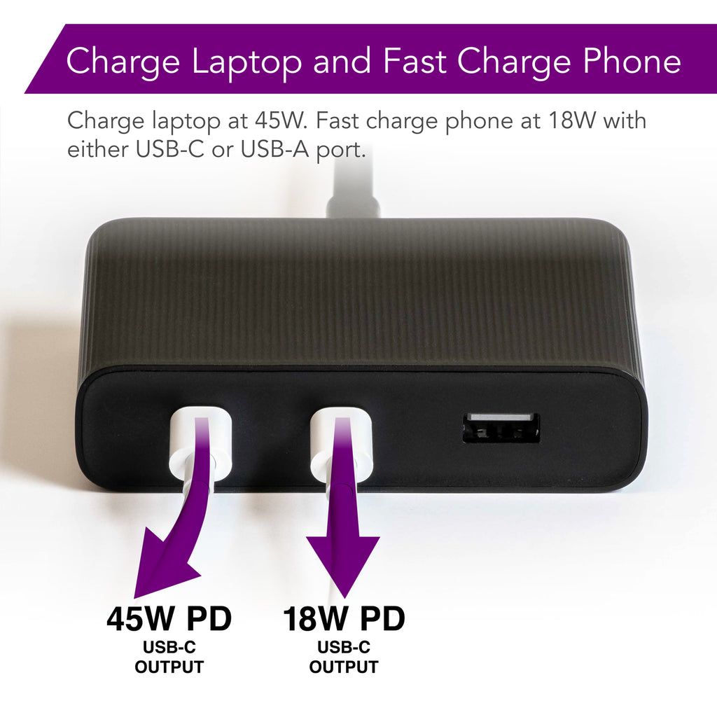 zPower Trio Desktop Charger with 2 USB-C Ports and 1 USB-A Port