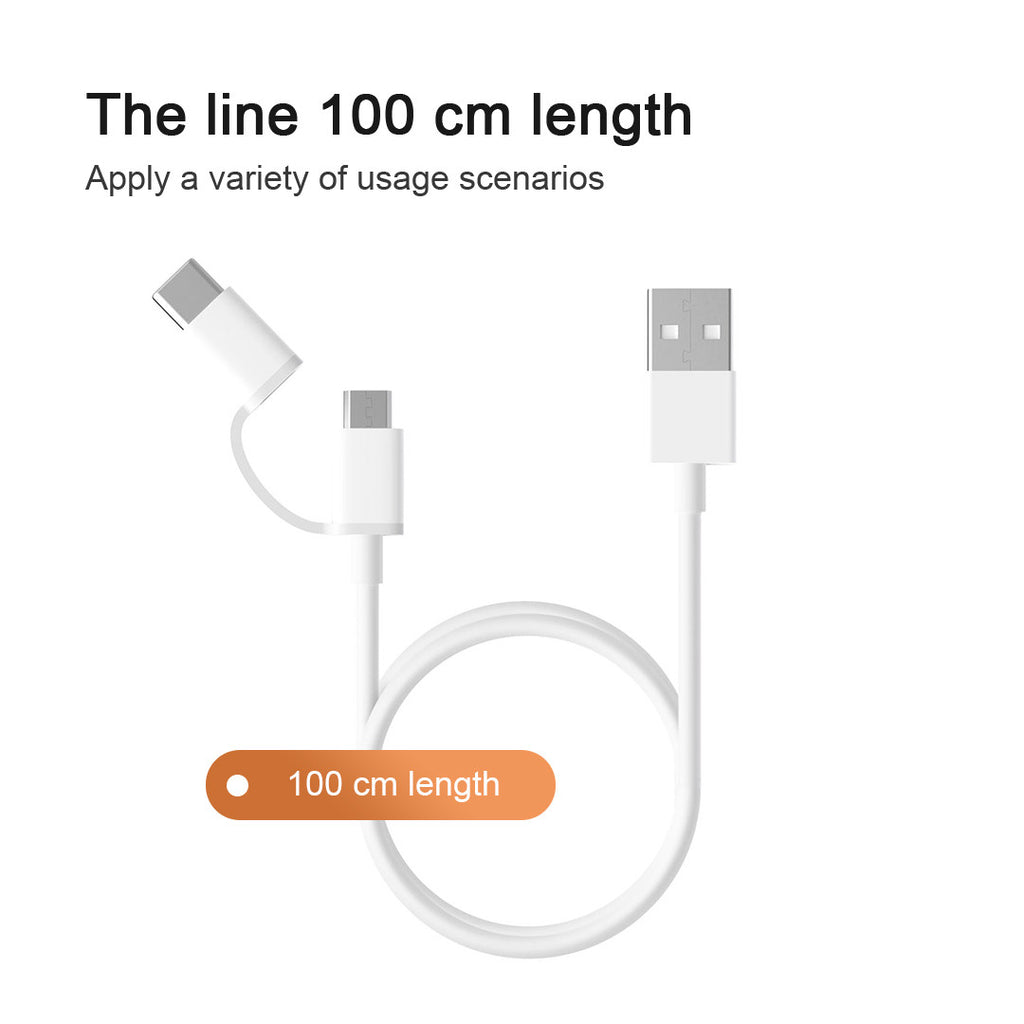 ZMI AL502 2-in-1 Micro USB and Type-C Cables for Charge and Sync (2-Pack)