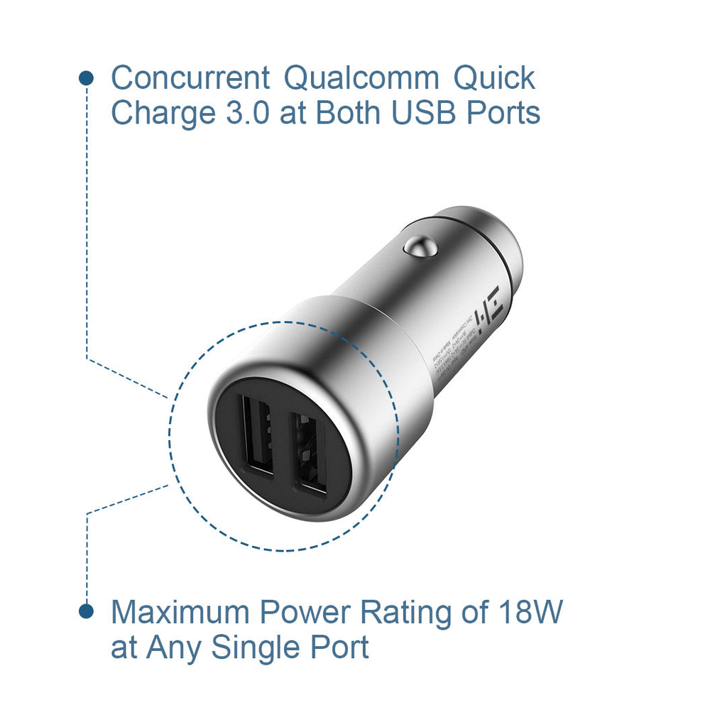 PowerCruise C2 36-Watt Dual USB Car Charger with QC 3.0