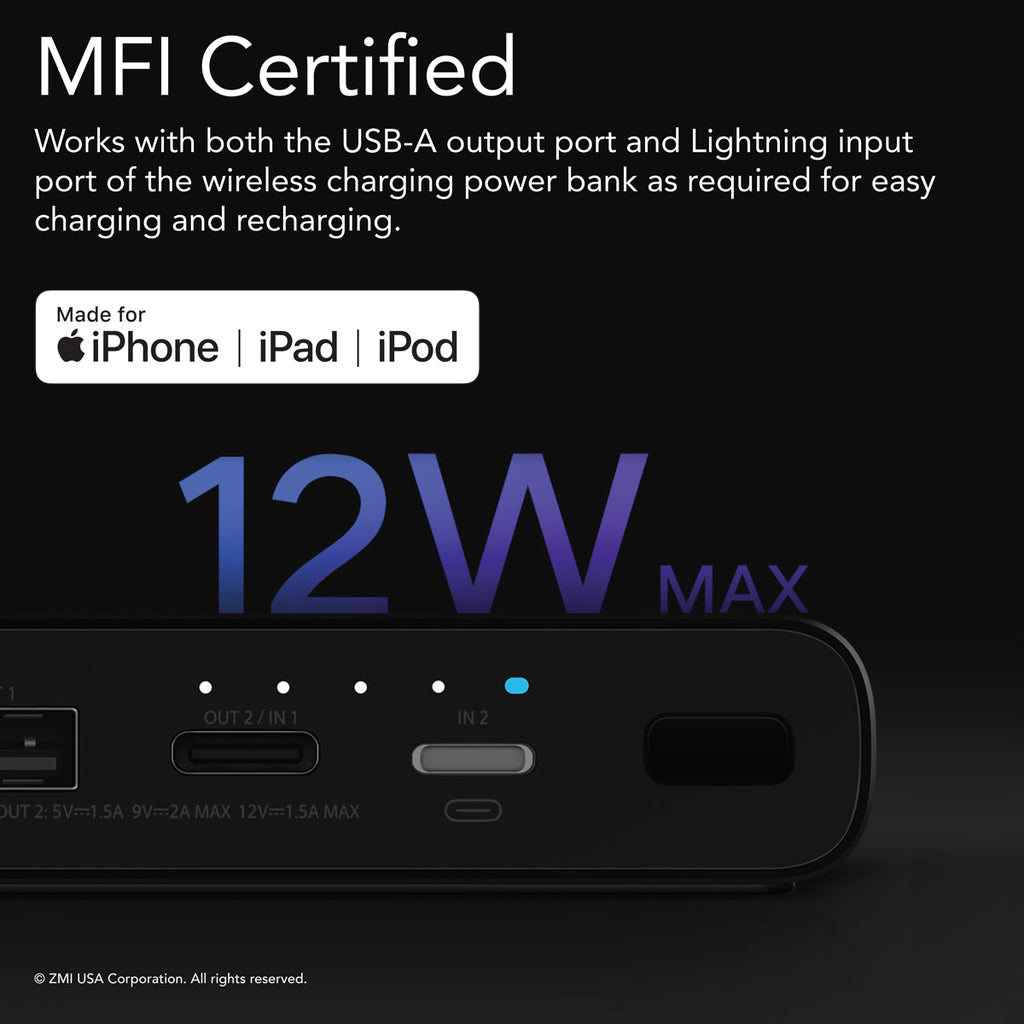 LevPower M10 USB-C Power Bank - Qi Certified Wireless Charger, Apple MFi Certified, USB PD, Lightning Port Input