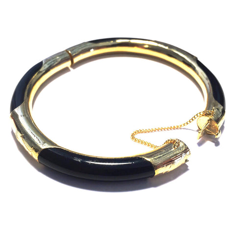 Black Onyx Bangle Bracelet with Gold Clasp-Open-Whitestone Jewelry Co.