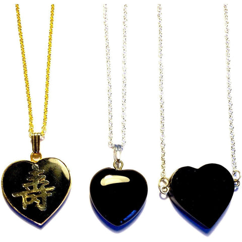 Black Onyx Heart Necklace-3 choices-Whitestone Jewelry Co.