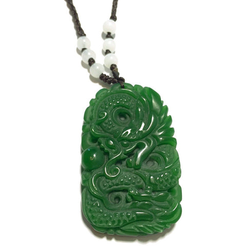 Green Jade Angry Dragon Necklace-Whitestone Jewelry Co.