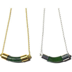 Green Jade Bar Necklace on Gold or Silver Chain-Whitestone Jewelry Co.