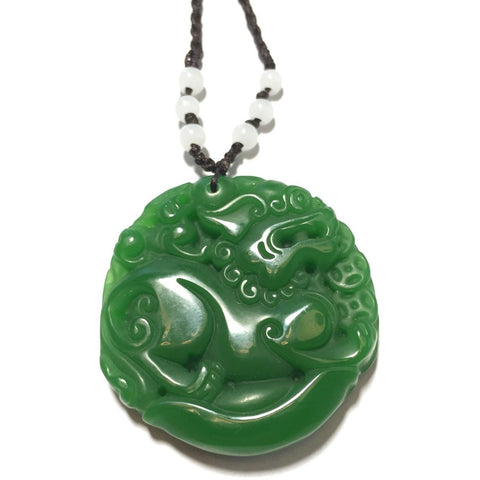 Green Jade Lion Necklace-Whitestone Jewelry Co.