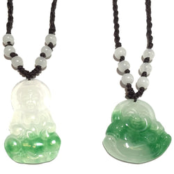 Green & White Jade Buddha Necklace-Whitestone Jewelry Co.