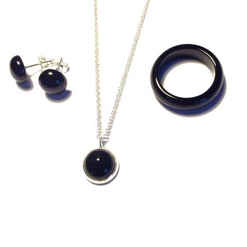 Hazelnut Coffee Onyx Stone Ring, Necklace, and Earring Set-Whitestone Jewelry Co.