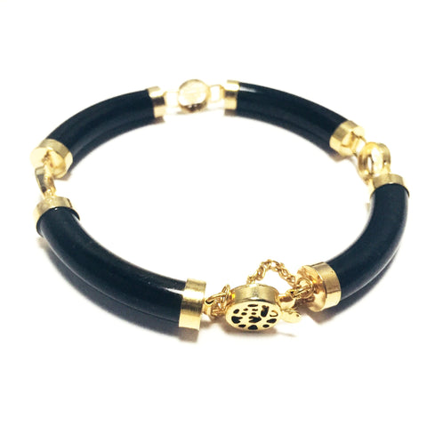 Vintage Chinese Character Clasp Bracelet with Gold Fittings