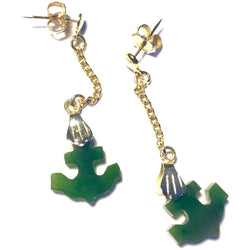 Jade Anchor Earrings-Whitestone Jewelry Co.