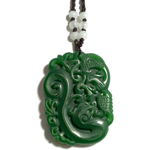 Jade Dragon and Peacock Pendant Necklace-Whitestone Jewelry Co.