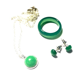 Matcha Green Tea Agate Stone Ring, Necklace, and Earring Set-Whitestone Jewelry Co.